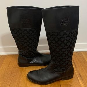 Coach black boots with signature C. Size 11